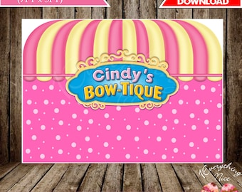 "Minnie's Bowtique Boutique Pink Theme 84"" x 60"" Happy Birthday Backdrop Banner Digital Download"