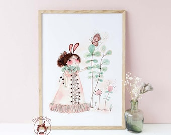 Awakening - Poster size -Nursery Decor wall art - Baby Girl Decor wall art- Butterfly & Girl -Whimsical, Magical Fine Art print illustration