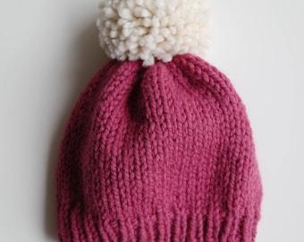 Loose Knit Hat with Pom //  Knit Beanie  // Chunky Knit Hat // Pom Pom Knit Hat