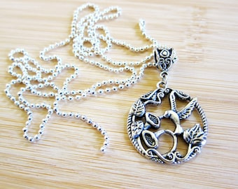 Hummingbird Lilies Pendant Necklace Silver Plated Ball Chain