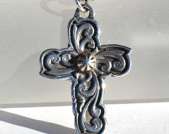 Rockin Out Jewelry - Starburst Cross Pendant - Sterling Silver Necklace - Gift For Her - Gift For Him - Western Cross - Valentines Gift