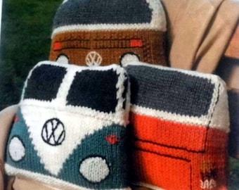 Split Window Volkswagen Camper Van Cushions Knitting Pattern