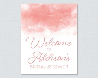 Pink Watercolor Bridal Shower Welcome Sign Printable - Pink Bridal Shower Customizable Sign - Pink Watercolor Bridal Shower Decor 0030-P