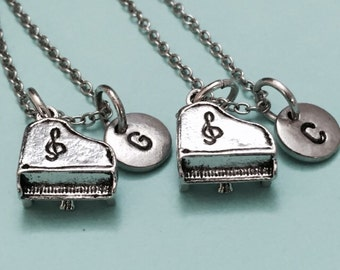 Best friend necklace, piano necklace, music necklace, bff necklace, sister, friendship jewelry, personalize, initial necklace, monogram