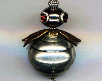 Whimsical Steampunk Bee . Halloween Honey Bee Necklace . Gigantic Pendant . Rhinestone Eyes . Brass Wings- Robo Bee by enchantedbeas on Etsy