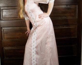 Princess Maxi Dress Boho 1960s Shiny Pink Formal Dress Lace Details Sheer Puff Sleeves