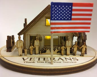 N - Americas Cabin Greetings with a LED LIGHT : Veterans Display