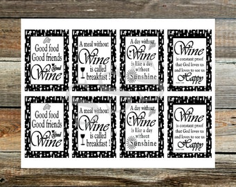 Wine Gift Tags ~Instant download~ Printable ~Four Wine Sayings 2 of each saying