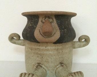 Silly Little Ceramic Planter - Folk Art Face Jar
