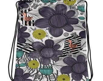 Whimsical Folk Art Floral Drawstring bag