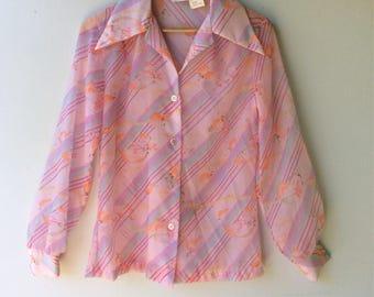 1970s SHEER Pink WIDE COLLAR Blouse // Size Medium