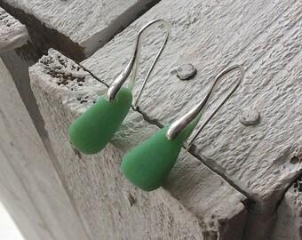 Sea Glass Earrings, Green Milk Sea Glass, Sterling silver earwires, Seaham Sea glass, English Sea glass, Sea glass jewellery