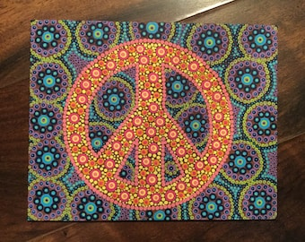 Custom Dotted Peace Sign - Canvas Art - Dorm Decor