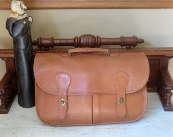 Dads Grads Sale Coach Carrier British Tan Leather Briefcase, Bag, Briefcase Bag, Laptop Case - Made in the U.S.A.- No Strap