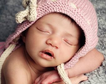 Baby Hat Knitting Pattern,  Vintage Style Bonnet Pattern, Bonnet Knitting Pattern for Baby Girl, Knit Baby Hat Pattern, PDF Pattern, - ERIN