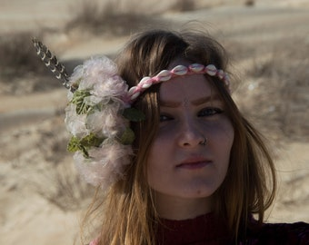 Flower Crown, Floral Headbands, Floral Crown, Flower hair wreath, Festival Crown, Tribal Fusion Headdress, Flowers Headpiece, Forest Crown