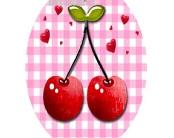 lovely cherries and hearts, 18x25mm