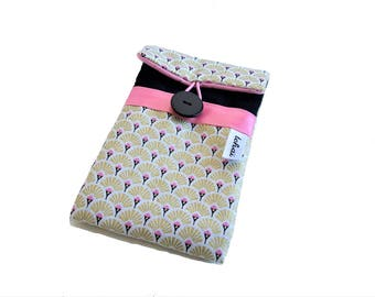 gold and black phone case , iphone sleeve graphic scales patterned , padded cell phone pouch , fabric phone case for women
