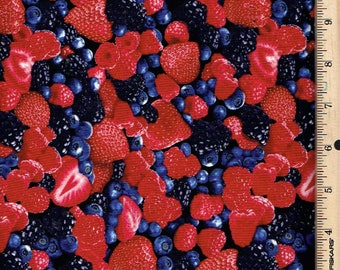 Mixed Berries on Black, Timeless Treasures