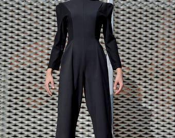 Jumpsuit black/cotton jumpsuit/pantsuit/women jumpsuit black cotton long sleeve