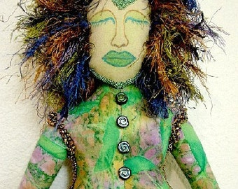 Goddess Spirit Art Doll-Green Goddess  (Made to order by Request)