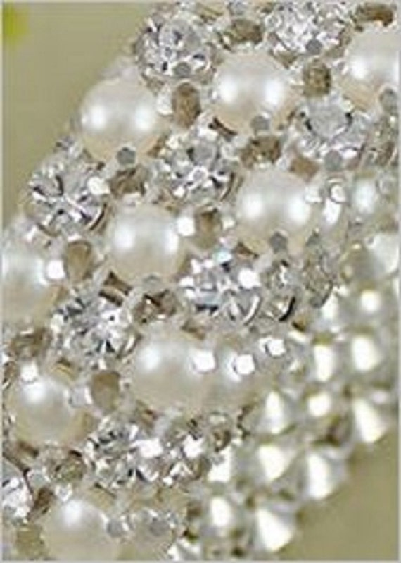 Diamante Pearl Ribbon Banding For Wedding Cake Decoration 1 Yard