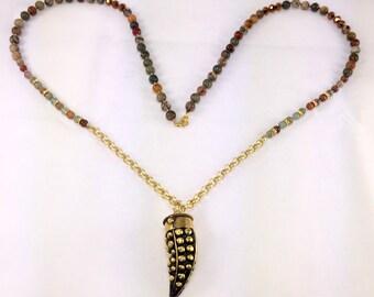 Boho Chick Jasper, Brass & Gold Filled Long Necklace!