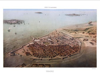 "Veracruz, Veracruz 1869 Panoramic Bird's Eye View Map by C. Castro 22x16"" Reproduction"