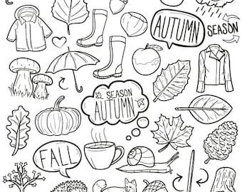 Autumn Season Fall Concept Art Cartoon Doodle Icons Clipart Scrapbook Set