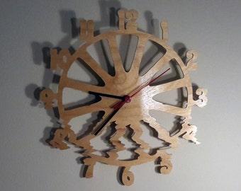 Warped clock - unique digital glitch art design - hand cut via scroll saw 10 inch (27 cm)