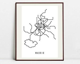 Madrid metro map Etsy