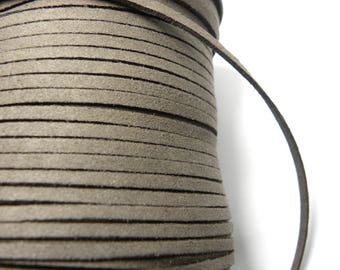 1x 3m Flat Faux Suede Cord 3mm - Gray