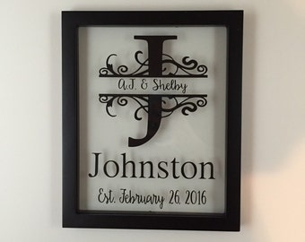 Personalized Family Name Sign, Wedding Gift, Established Family Sign, Home Decor, Personalized Name Sign, Monogrammed Name Sign, Anniversary