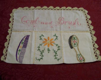 Vintage, Embroidered, Grooming Pouch, Wall Hanging, Comb and Brush, Holder, Embroidery, with Crochet Circa 1940s