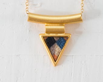Colorful Triangle Necklace, Geometric Gold Jewelry, Long GoldNecklace, Vintage Necklace, Boho Necklace, Colorful Pendants