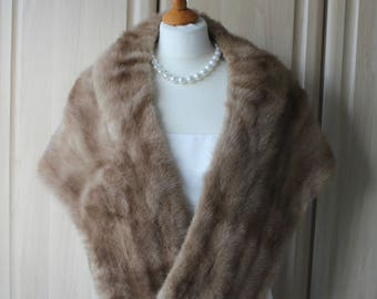 Vintage Real Golden Brown Mink Fur Shrug Stole, Exeptional Condition and Craftsmanship, Wedding / Opera / Occasion S8