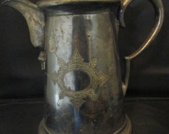 Antique Silver Plated Coffee Pot Pitcher Shabby Chic Etched Detail Perfect Planter Prop Display Piece