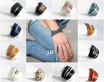 SALE Leather Wrap Bracelet - Double Wrap Leather Bracelet - Cuff Bracelet - Black Leather bracelet - Men bracelet  Women bracelet