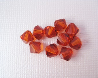 6mm Indian Red Swarovski Crystal Bicone Beads (Package of 12)