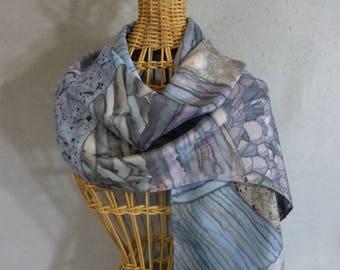 "Silk Scarf ""Blue Rock Strata"", Hand Painted Silk Scarf, Light Blue Scarf"