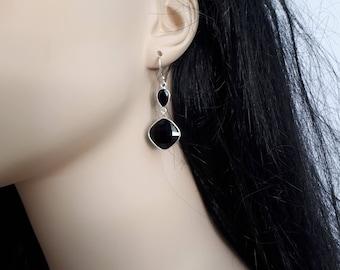 Black onyx earrings, faceted, 92.5 sterling silver; long earrings