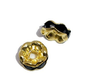 2 beads spacers puck black rhinestone gold plated 6 mm