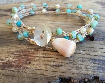 Wrap Around Boho Bracelet / Beach Crocheted Bracelet / Bracelet Wraps / Stacking Bracelet / Gift for Teenager / Surfer Girl Gift