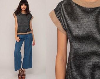 70s Knit Top Striped Shirt Boho Cap Short Sleeve Sweater Top Black Tan Bohemian Retro Tee Vintage Slouch 80s Small