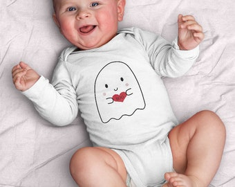Halloween Boo ghost Infant Long Sleeve Bodysuit (baby shower, baby, ghost, cute, kawaii, heart, love, sweet, BFF, scary, Valentine's Day)