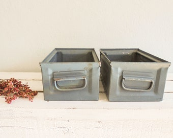 Industrial Tool Boxes stack boxes Metal vintage blue-Grey decoration 2 pcs