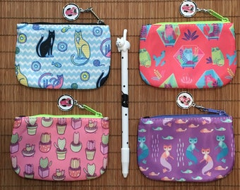 Mini Cat Themed Zippered Coin Purses