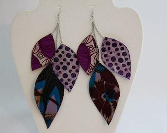 Purple bohemian leaf earrings, artisan jewelry, fiber art earrings, African fabric jewelry, leaf dangle earrings, elegant statement earrings