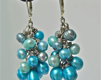 Confetti Earrings made with Turquoise, Aqua & Teal Freshwater Pearls from North Atlantic Art Studio in Maine