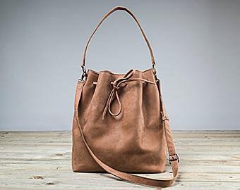 Camel Bucket Bag, Drawstring Bag, Camel Leather Bag, Womens Shoulder Bag, Handmade Bucket Bag, Soft leather bag